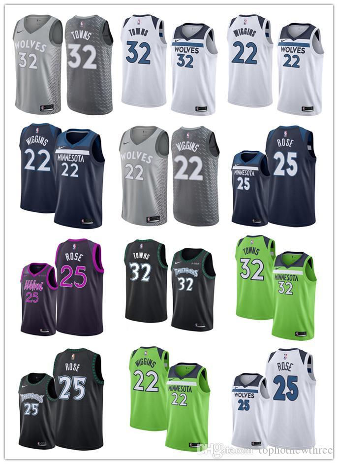 free shipping 71346 69e56 Minnesota Derrick Rose Karl-Anthony Towns Timberwolves Swingman basketball  Jersey City Edition
