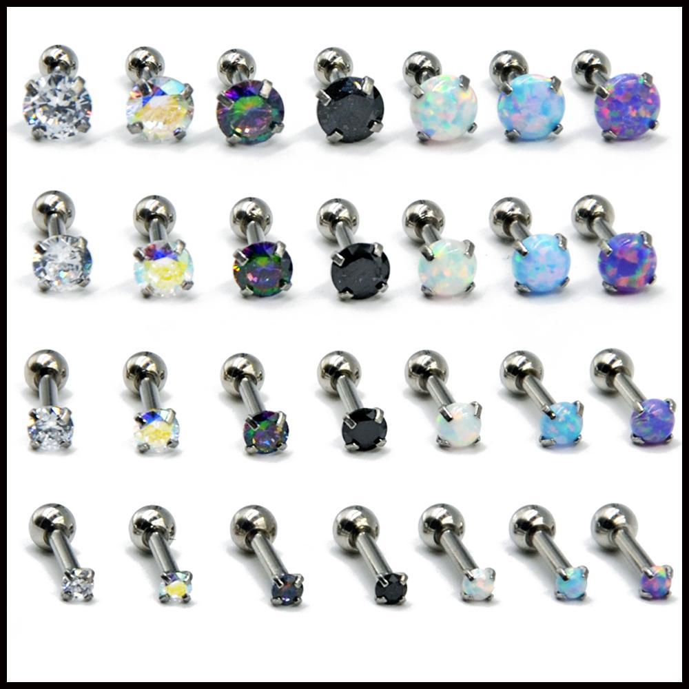 4pcs Mix Size Surgical Steel Round Crystal Opal Ear Helix Tragus Top Upper Ear Earring Stud Labret Earrings Piercing Jewelry