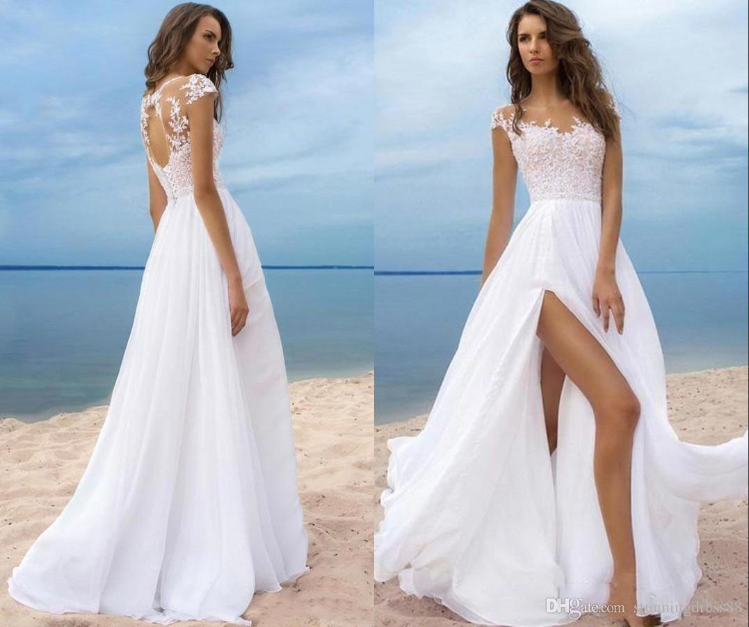 Wedding Dresses For Short Brides.Sexy High Splits Beach Wedding Dresses Chiffon 2019 Cap Short Sleeves Keyhole Back Summer Designer Cheap Wedding Dress Bridal Gowns