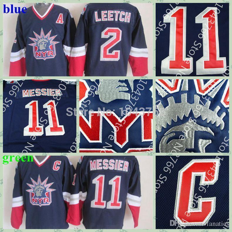 official photos d4950 c9bbf Retro newest Men s New york Rangers Jersey #2 BRIAN LEETCH Alternate lady  liberty CCM blue #11 Mark Messier Ice Hockey Jersey