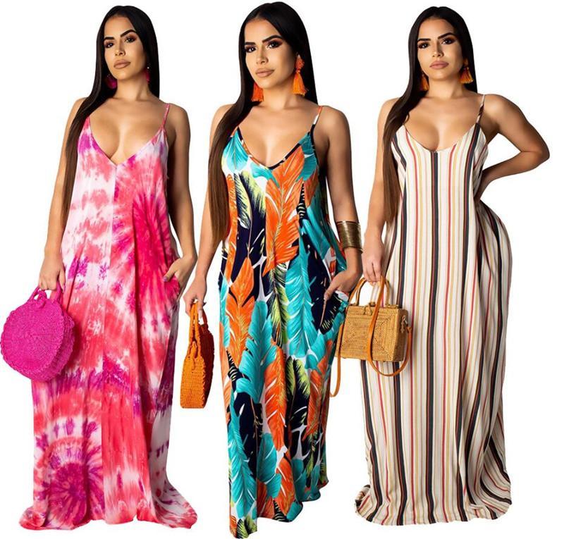 7eb575b6fdf 2019 Women Designer Summer Maxi Dress Striped Long Skirts Casual Sexy Dress  Trendy Loose Dresses Women Strap V Neck Long Dresses Leaf Print Designer ...