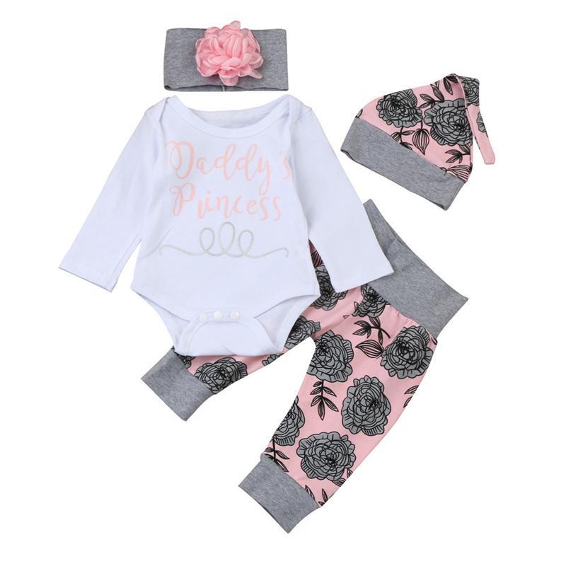 643a50e16 Newborn Infant Baby Clothes Set Girl s Bodysuit +Pants Leggings +Hat ...