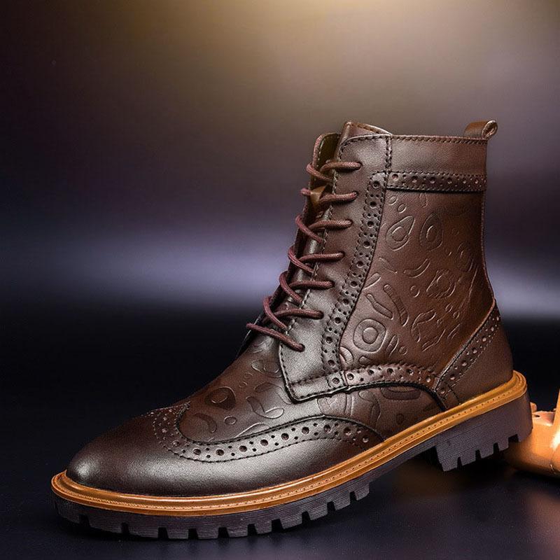 a571dc4f5e4 Compre COSIDRAM Hombre Botines De Estilo Romano De Cuero Genuino Otoño  Invierno Zapatos Masculinos Botas Con Cordones De Cuero De LA PU Botas De  Hombre BRM ...