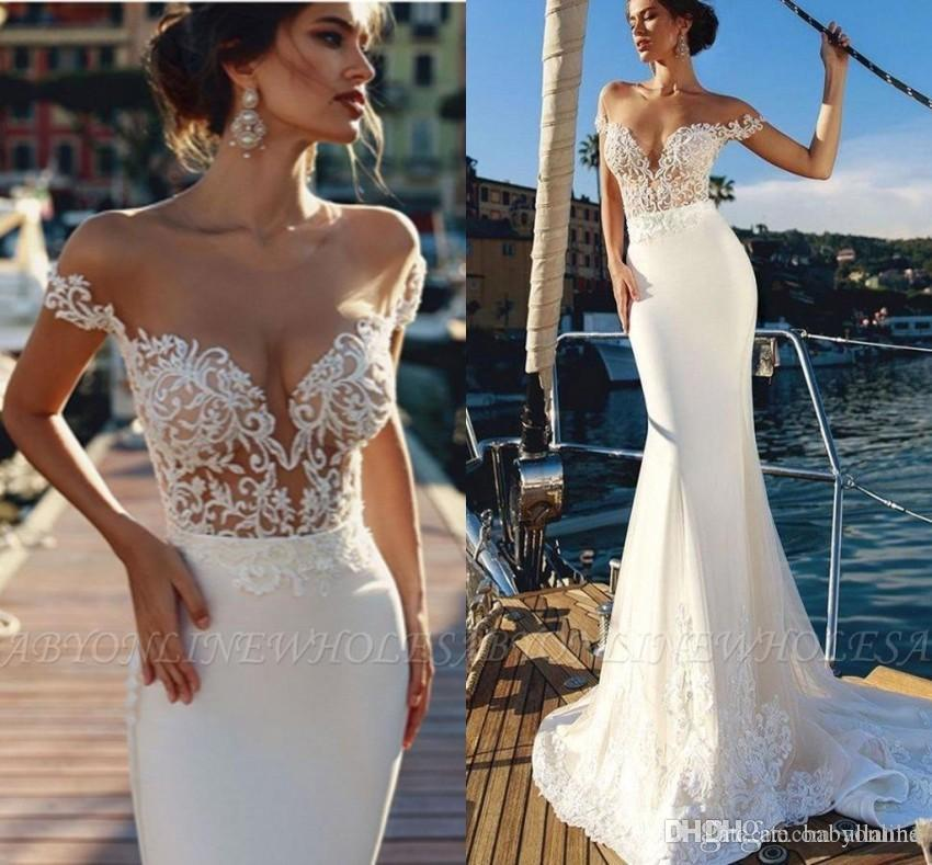 New A Line Summer Wedding Dresses Elegant Sheer Lace Off Shoulder Backless Appliques Ruched Sweep Train Satin Bride Wedding Gowns