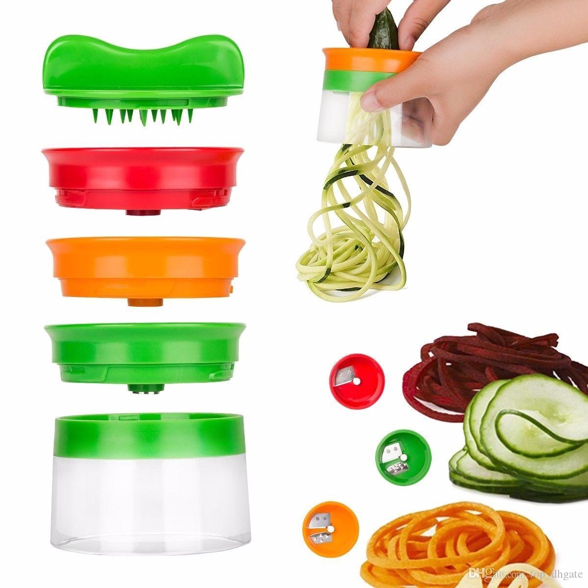 ew Vegetable Fruit Spiral Slicer Cutter Vegetable Spiralizer Grater Carrot Cucumber Courgette Zucchini Spaghetti Maker Dropship