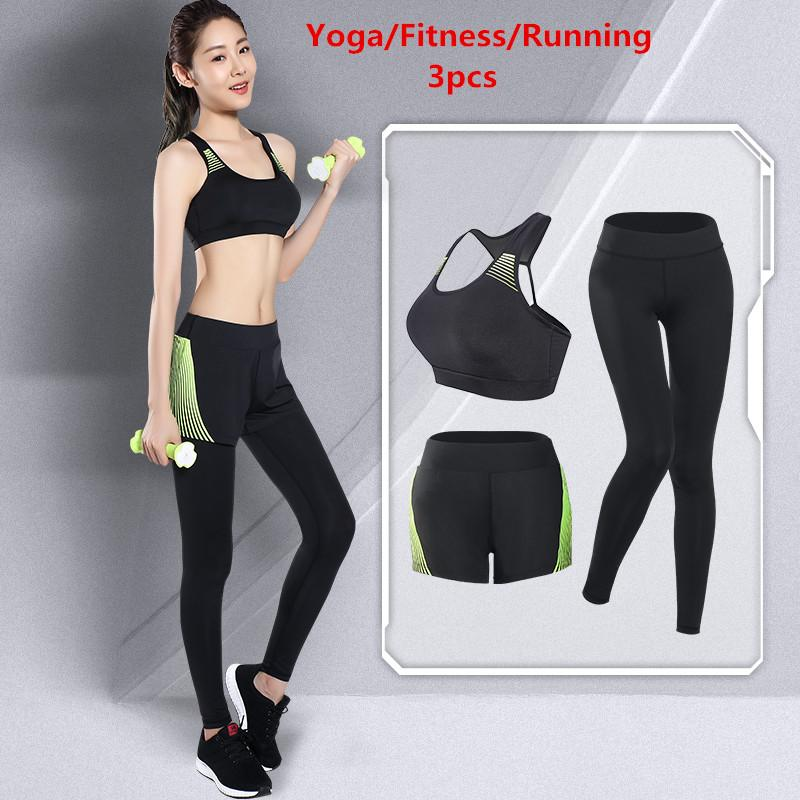 LEFAN Summer Sports Clothes 3pcs Women Elastic Running Yoga Fitness Suits Female Sportswear Training Gym Sets Tight Sports Pants