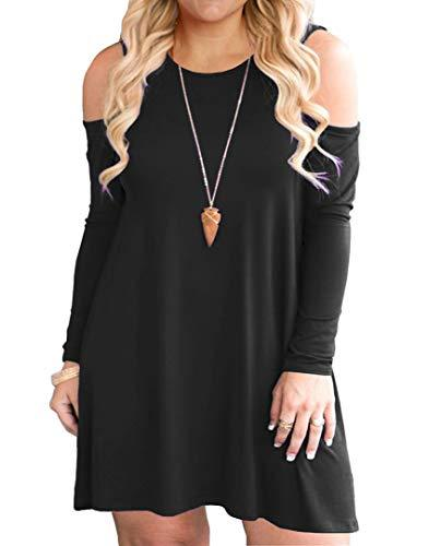1579a521151f QIXING Women's Plus Size Cold Shoulder Long Sleeve Dress Casual T-Shirt  Swing Dresses with Pockets