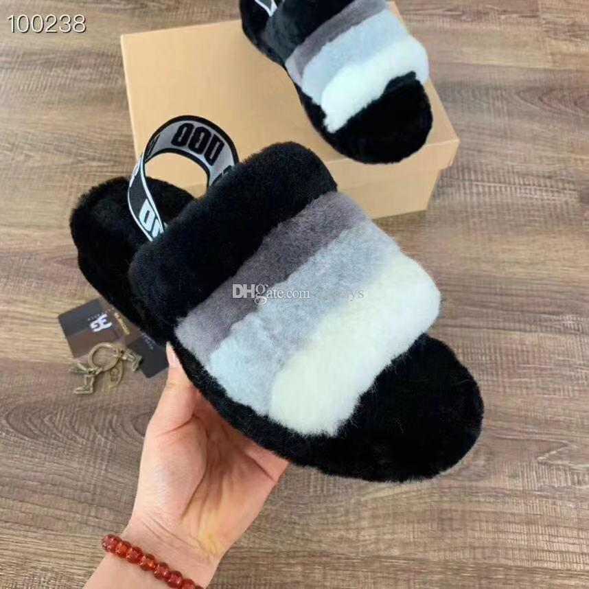 4bca072f72d9c1 Designer de luxo Mulheres Sandálias Furry Slides Chinelos De Pele Com Plano  Plana Chinelos De Lã Botas de Impressão Furry 1 Par Tiro Real Imagem ...