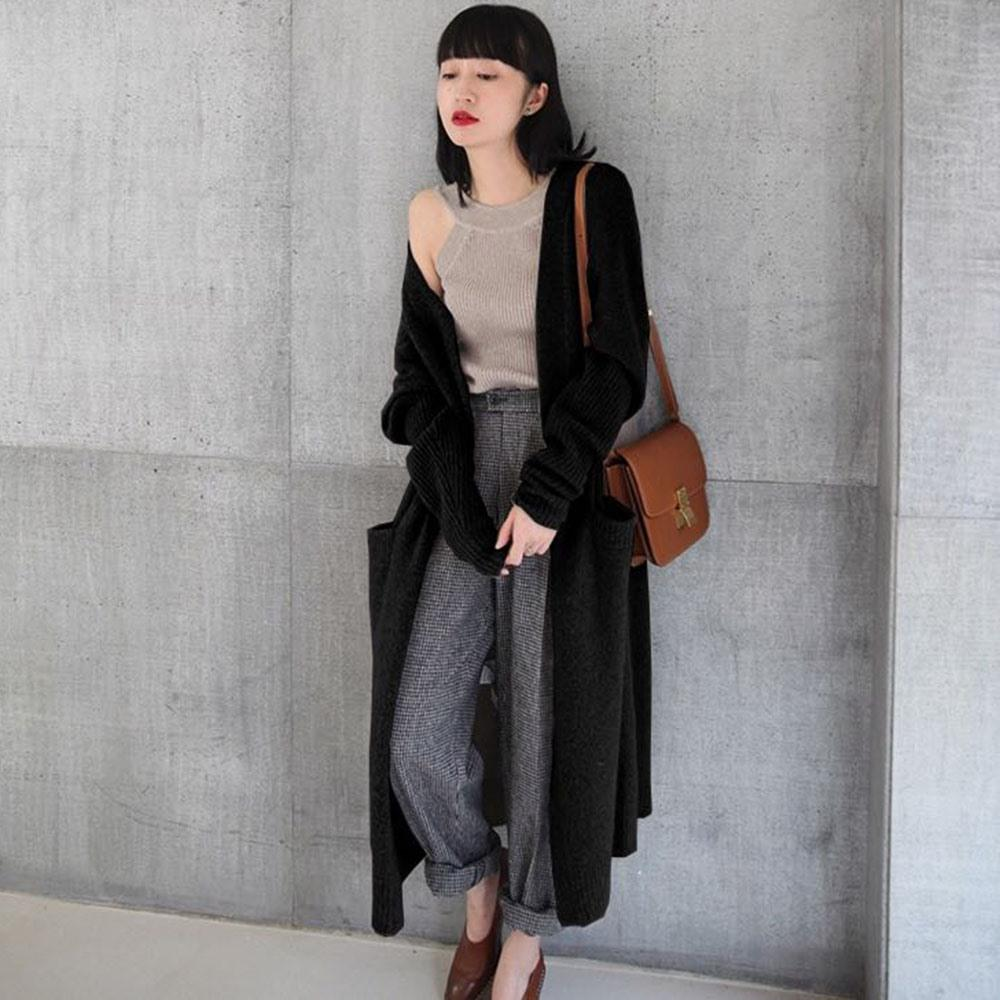 949204ed127 2019 Cardigan Women Sweater Autumn Winter Thick Warm Solid Simple Knitwear  Loose Korean Street Fashion Black Long Jumper Knitted Top From Zhaolinshe