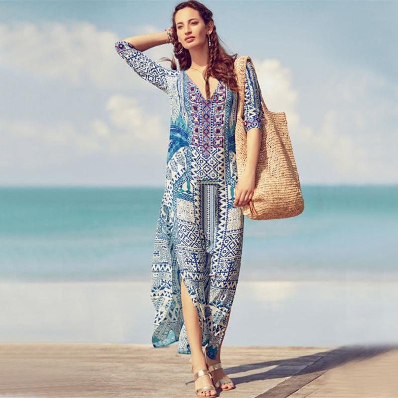 d556ce9d7e Bohemia Beach Dress Long Retro Printed Loose Bikini Cover Up Beach Wear  Dresses Swim Cover Ups Bikini 2019 New Female Cape Blue