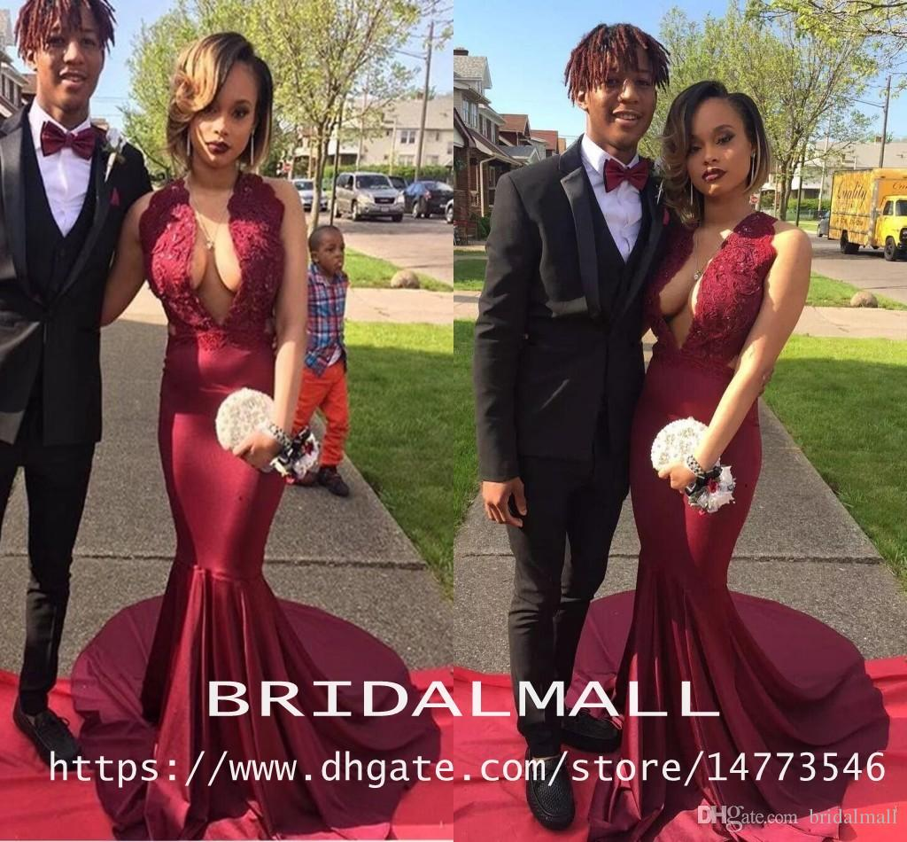 c7e59d8667ca African Sexy Burgundy Satin Mermaid Prom Dresses 2019 Deep V Neck Evening  Dress For Special Occasion Sweep Train Formal Party Gowns Vestidos Prom  Dress ...