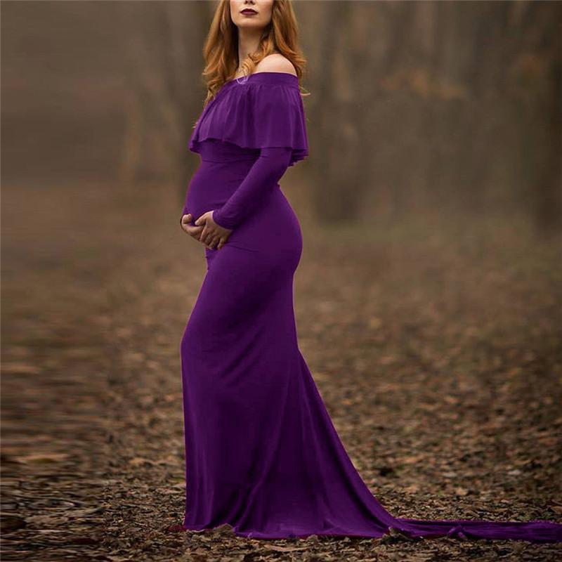 7767b5b1ff 2019 Womens Pregnant Sexy Photography Props Off Shoulders Ruffles ...