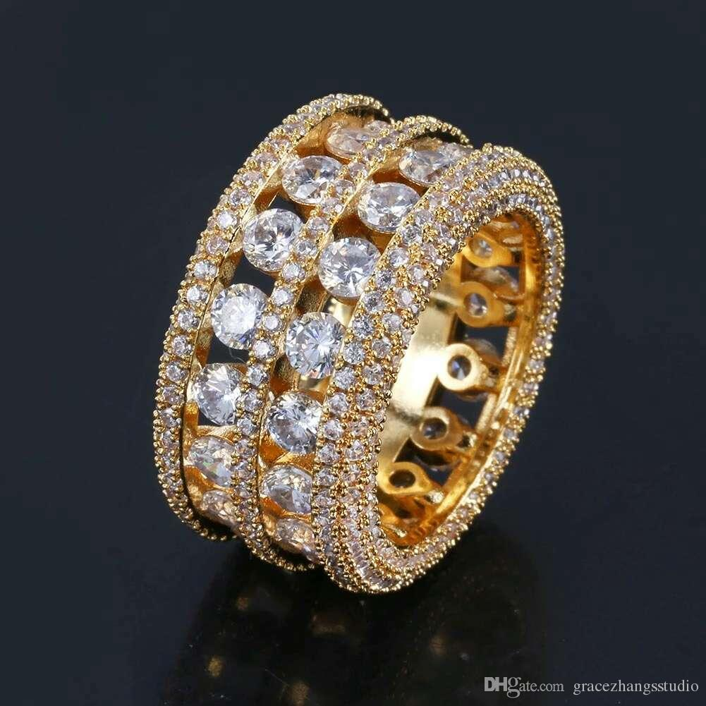 hip hop full diamonds rings with side stones for men luxury crystal ring western hot sale 18k gold plated copper zircon jewelry gifts for bf