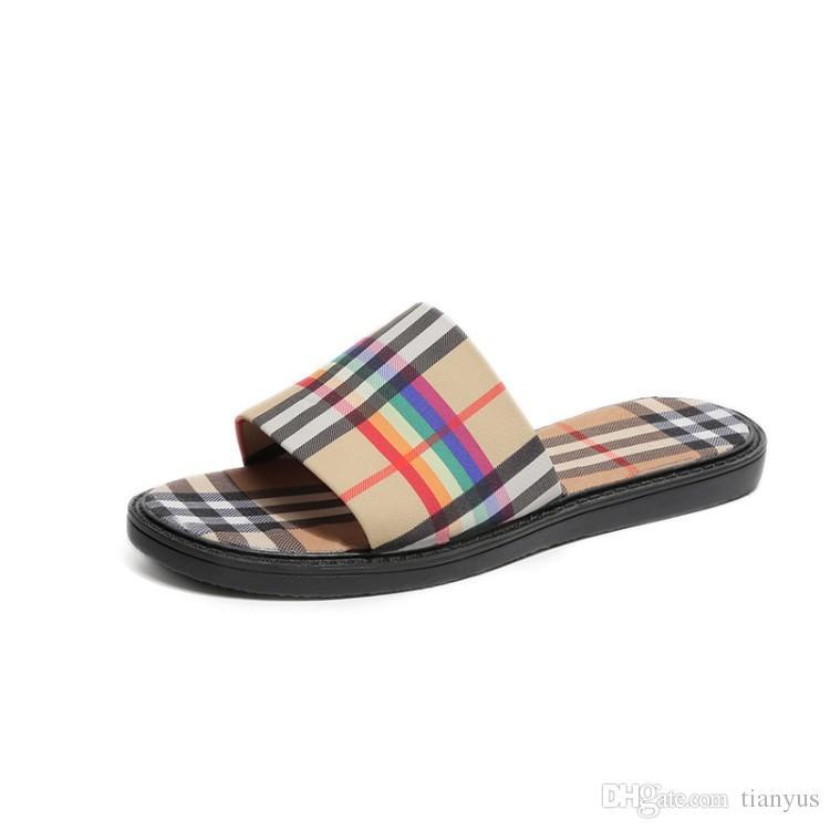 eebb2572cf7e Designer Women Slippers Slide Sandals Summer Women Rainbow Stripes Flats  Shoes High Quality Ladies Sandals Beach Flip Flop Q 159 Platform Boots  Womens ...