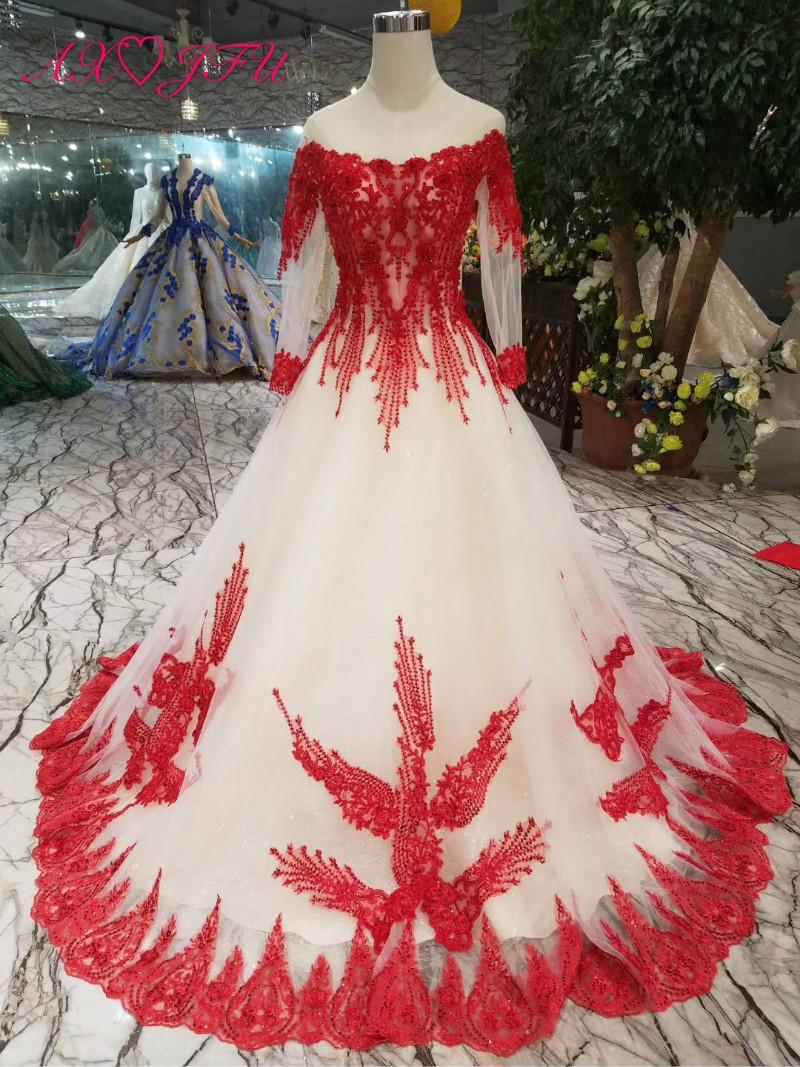 Axjfu Luxury Princess Red Lace Wedding Dress O Neck Beading Crystal Flower Chagne 100real Photo 450 Sweetheart Ball Gown: Lace Wedding Dress Red Flower At Reisefeber.org