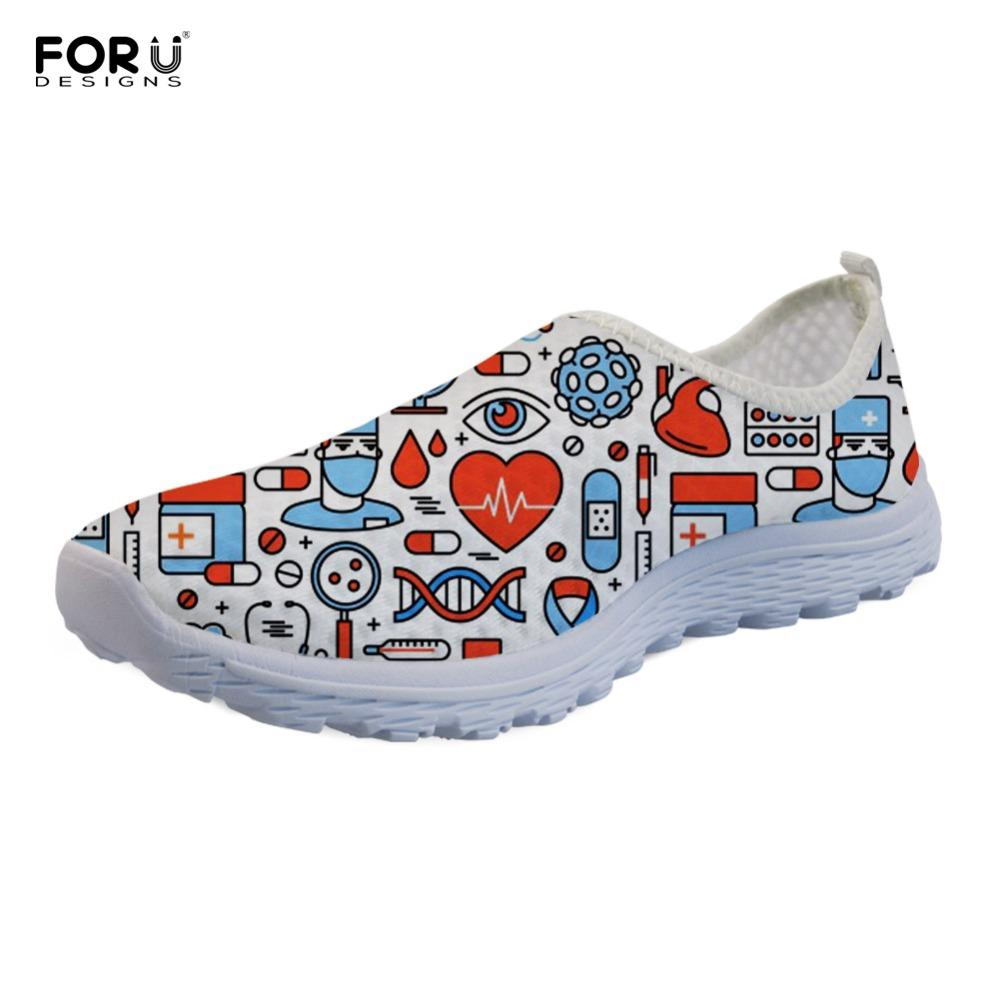6a491c9c554 FORUDESIGNS Cute Nurse Prints Women Spring Summer Flats Shoes Cartoon  Dental Pattern Lightweight Mesh Shoes Woman Beach Loafers Cheap Shoes Shoes  For Women ...