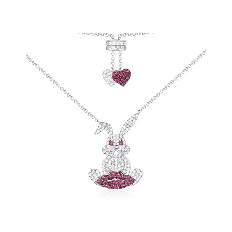 2018 Monaco X New Arrival Cute Rabbit Lips Pendant necklace with White Pink cubic zircon S925 sterling-silver women jewelry