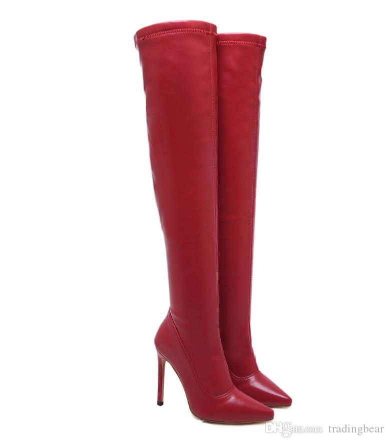 Fashion luxury over the knee thigh high boots soft PU leather pointed high heels women winter boots red black size 35 to 40