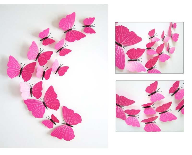 12 Pz Kid Room TV Frigorifero Sticker Home Decor PVC Farfalla 3D FAI DA TE Adesivi Murali Impermeabili Decalcomanie Bianco Nero Blu Rosa-rosso
