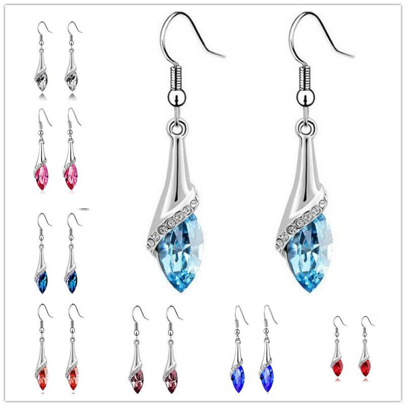11 Colors austrian crystal drop earrings for womens swarovski elements long dangle pendant earring fashion jewelry