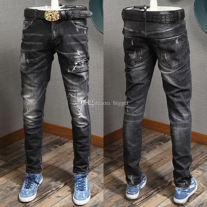 efe9e06a145 2019 Boy Wash Distressed Jeans Sexy Twist Fit Luxury Design Denim Pants  Slim Fitness Cowboy Jeans Man From Bigget
