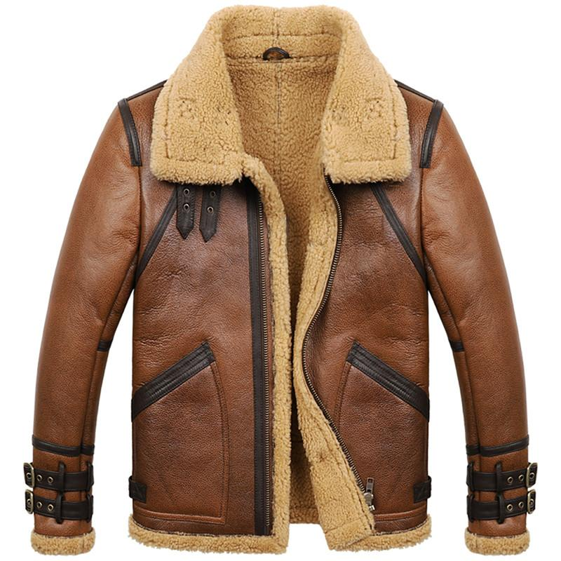 bacc7d568ff5 2019 Mens Sheepskin Shearling Coat B3 B6 Mens Sheepskin Bomber Jacket Fur  Coat Brown Color From Lotustoot