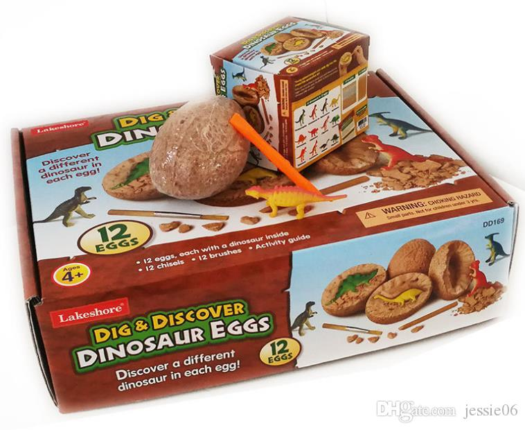Scavo Scoperta Dino Egg Scavo Giocattolo Kit Unique Dinosaur Eggs Easter Archaeology Science Gift Dinosauro Party Favors for Kids 12 modelli