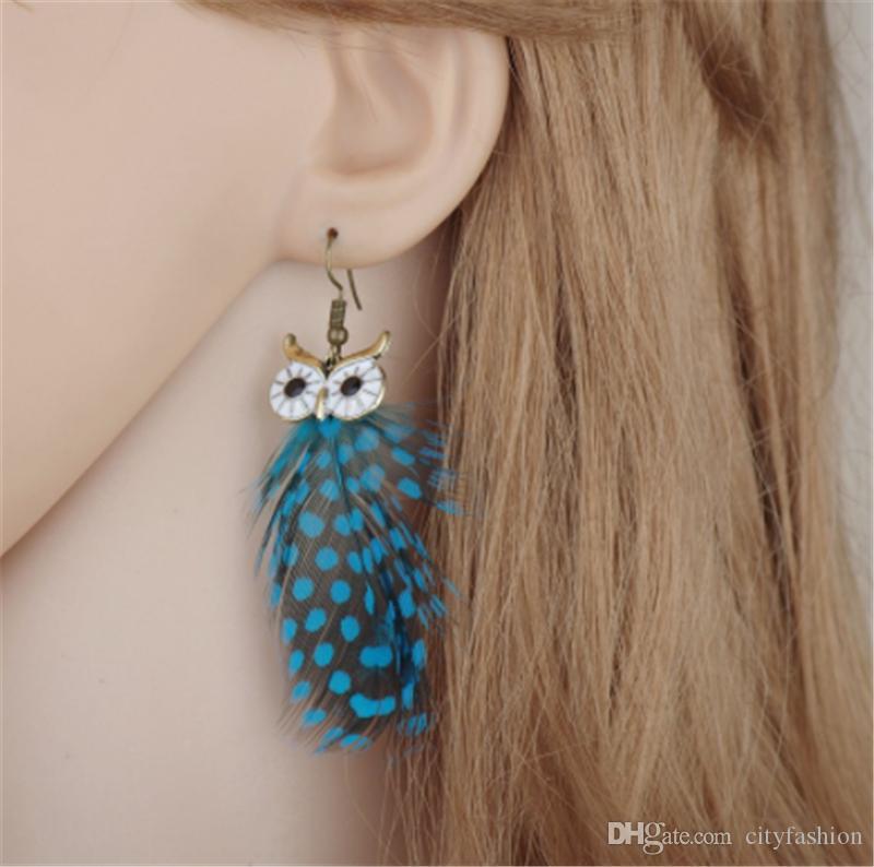 Glazed Feather Tassel Earrings Fashionable Lady's Earring Long Style Owl Pattern Dangle Earrings Hot Sale Accessories