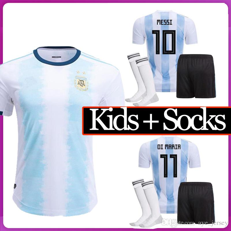 fc8f4af868e 2019 Kids Argentina Soccer Jersey HOME AND Away 2018 Argentina KIDS FULL Kit  KIDS Soccer Shirt WITH SOCKS Messi Aguero Child Football BOY Uniform From  ...