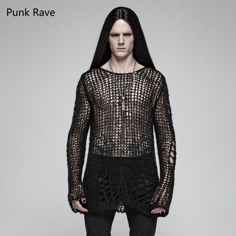 df0db050ef294 2019 Punk Rave Black Gothic Casual Broken Hole Pullovers Personality Men S  Sweater Shirt Visual Kei OPM004 From Sincha