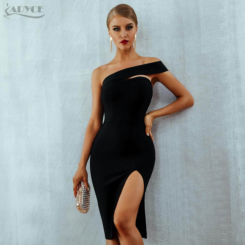 0170545bf967 2019 Adyce Bodycon Bandage Dress Vestidos Verano 2018 Summer Women Sexy  Elegant White Black One Shoulder Midi Celebrity Party Dresses Y190117 From  Shenyan01 ...