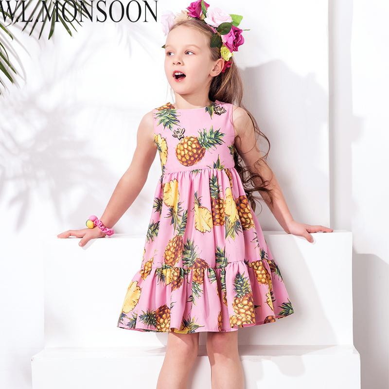 760ce381e Compre W.LONSOON Meninas Vestido De Verão Da Criança Roupas De Marca  Crianças Vestidos De Festa Abacaxi Robe Fille Vestido De Princesa Crianças  Trajes De ...