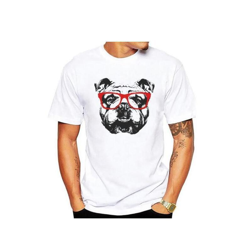 YEMUSEED New Men T-shirts Fashion Tops Cartoon Dog Print Tee Shirt O-Neck T-shirt CTS42