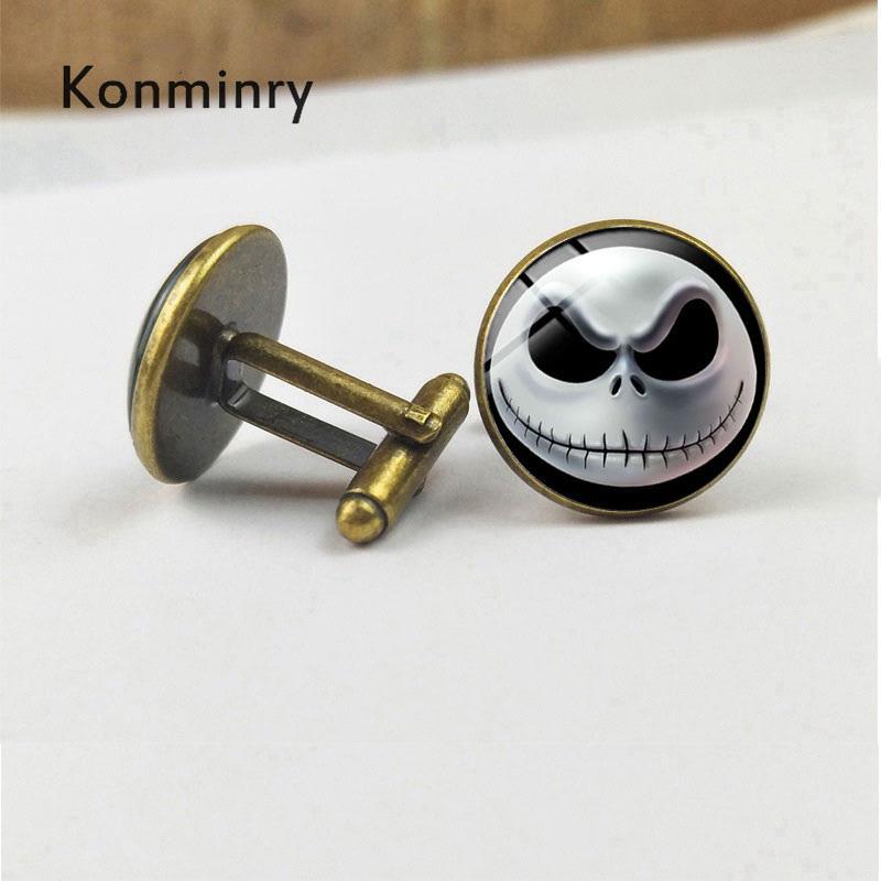 Halloween Skeleton Cufflinks Glass Dome Nightmare Before Christmas Cartoon Skull Silver Bronze Black Men Gifts Jewelry Konminry