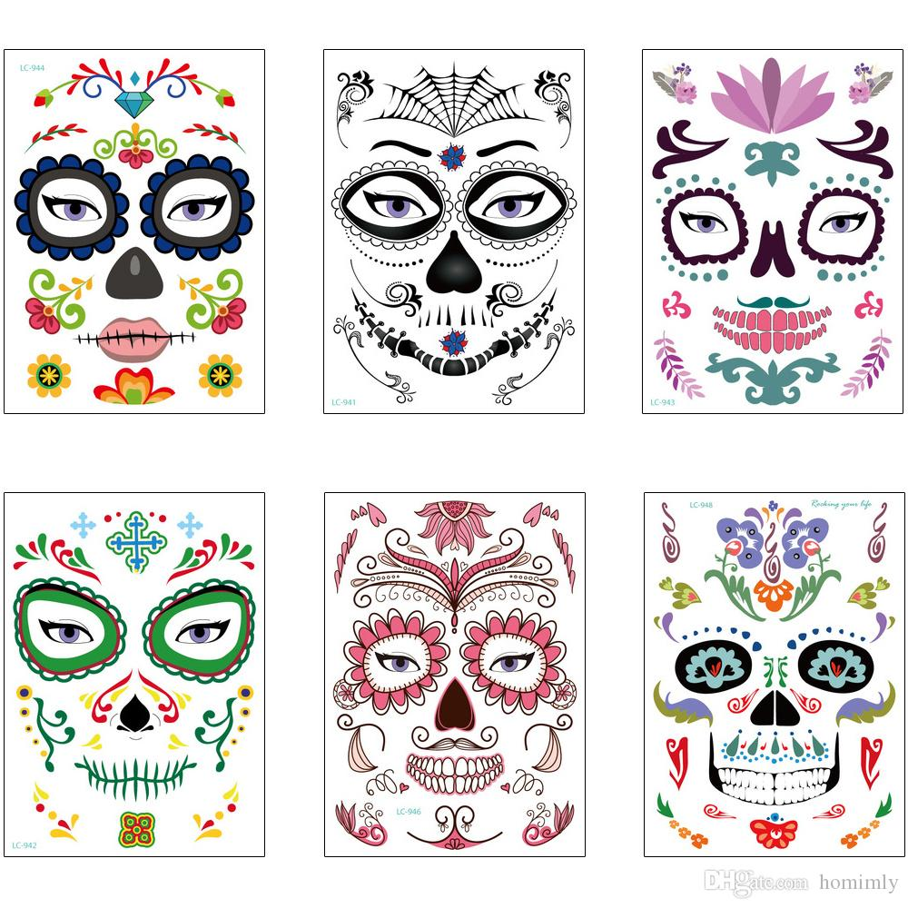 Temporary Halloween Face Tattoo Fancy Spoof Makeup Masquerade Ball Dancing Party Design Skull Spider Flower Decal Body Tattoo Paster Sticker