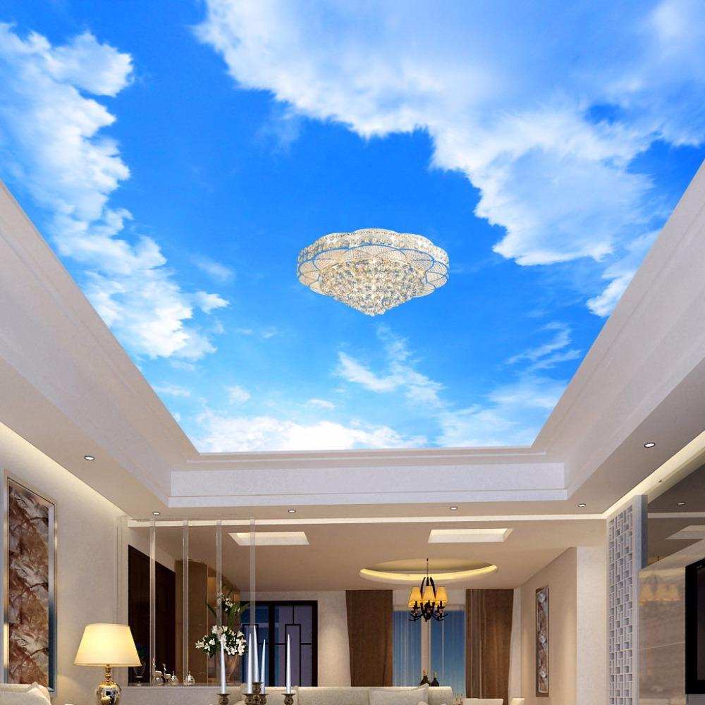 Custom 3D Photo Wallpaper Blue Sky And White Clouds Ceiling Mural Living Room Bedroom Ceiling Background Decoration Painting