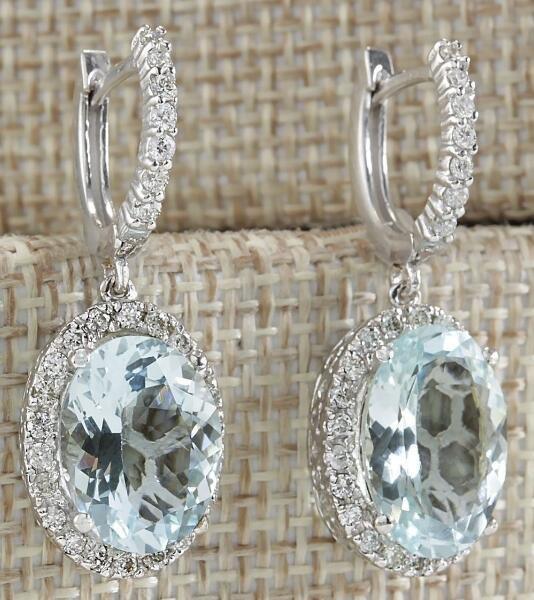 db88b3467eab8 Fashion Women 925 Silver Aquamarine Gemstone Bridal Rhinestone diamond Ear  Stud Hoop Dangle Earrings Charm Jewelry