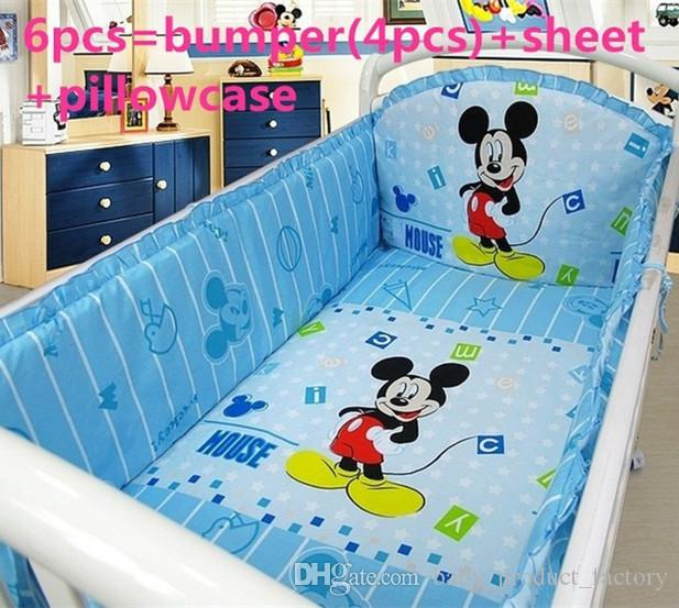 Promotion! 6PCS Cartoon washable baby bedding set bebe jogo de cama cot crib bedding set (4bumper+sheet+pillow cover)