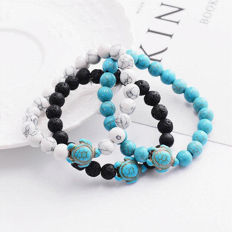 6482b68e8e Summer Style Sea Turtle Beads Bracelets For Women Men Classic 8MM Blue  Natural Stone Elastic Friendship Bracelet Beach Jewelry Childrens Charm  Bracelet ...