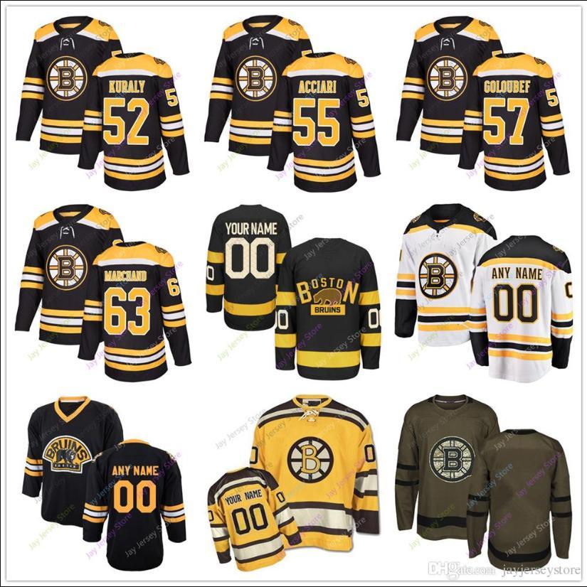the latest 28e2d e5f6a 52 Sean Kuraly Noel Acciari Cody Goloubef Brad Marchand Jersey Winter  Classic Boston Bruins Salute to Service Men Women Youth Kid Cheap