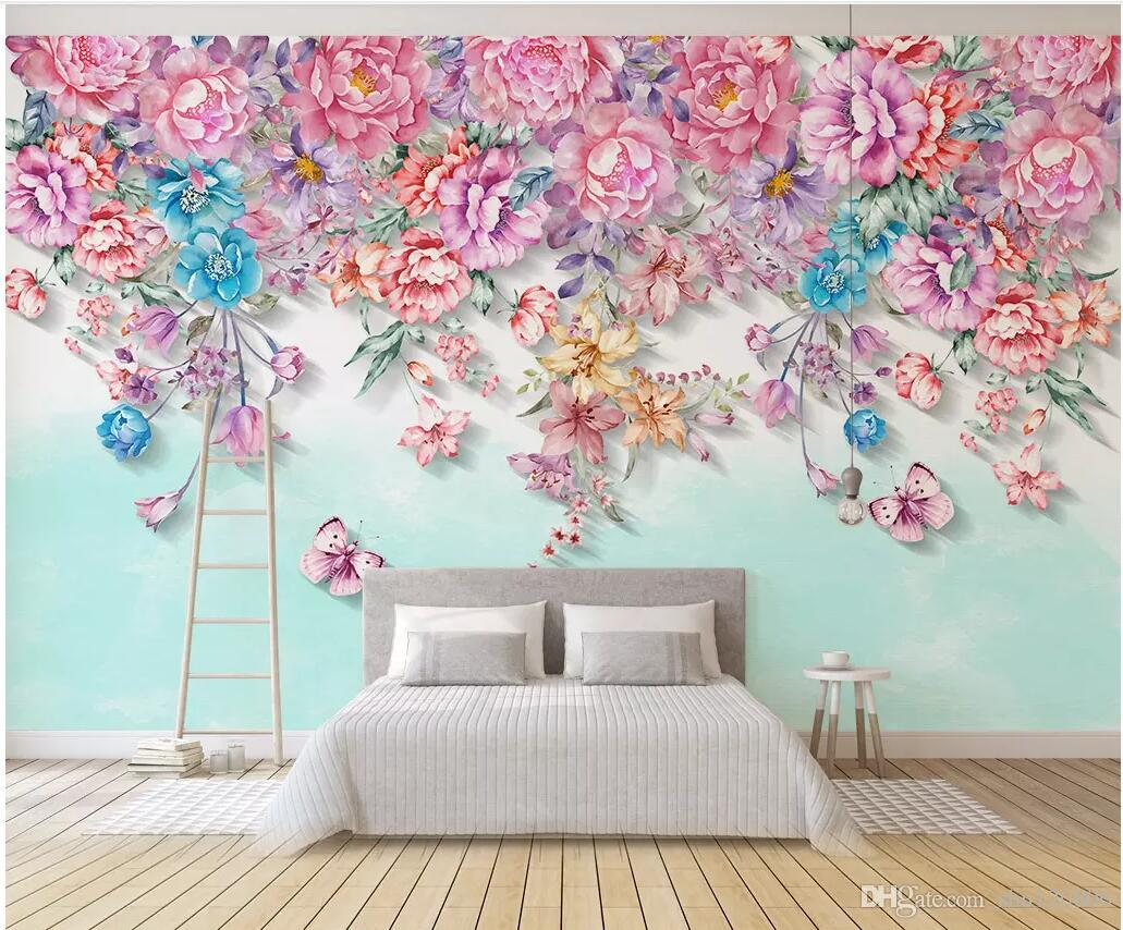 3d wallpaper custom photo Modern minimalist hand drawn small fresh floral butterfly decorations room 3d wall murals wallpaper for walls 3 d