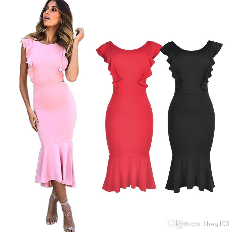 2019 Women S Sexy Ruffle Sleeveless Party Club Dress Slim Backless Bodycon  Midi Mermaid Dress Girls Night Out Dresses DZH1204 From Hhwq105 87c87e5d2014