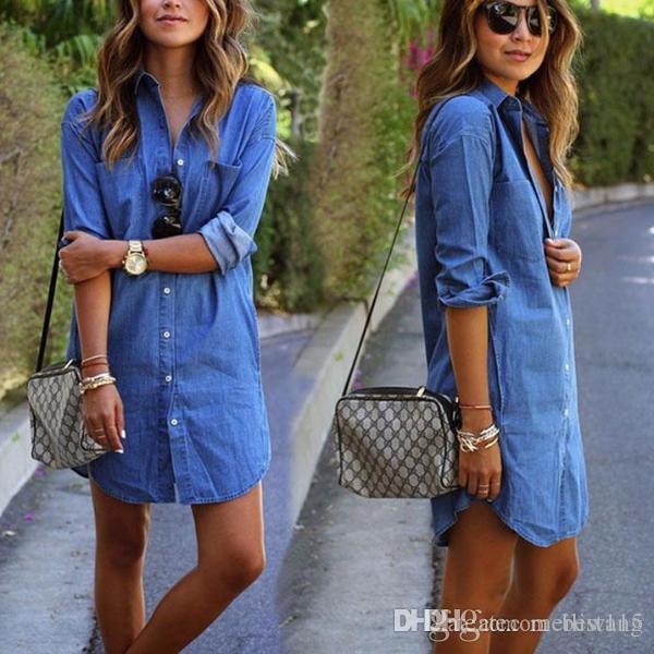 90d36db88442 Hot Sell Women Casual Denim Dresses Pockets Elegant Cowboy Fashion Women  Feminino Lady Slim Shirt Dress Jeans Shirt Dress Sundresses From Best115,  ...