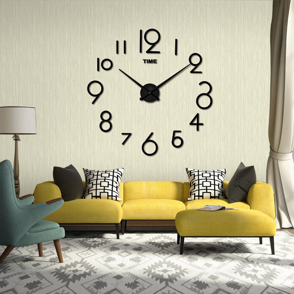 Drop Shipping haute qualité Horloge murale Salon DIY 3D Décoration Miroir Grand Art Design Horloge murale