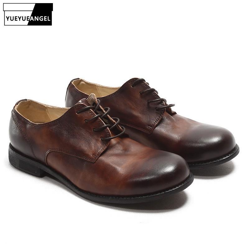 af9bcd0c Compre Zapatos De Cuero Retro Italianos Hombres Estilo Británico Hecho A  Mano De La Vendimia Punta Redonda Cuero Genuino Zapatos De Seguridad De  Trabajo ...