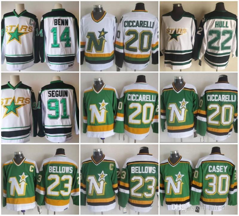 2019 20 Dino Ciccarelli Jersey Dallas Stars 30 Jon Casey 23 Brian Bellows  14 Jamie Benn 91 Tyler Seguin 22 Brett Hull Jerseys Vintage CCM Green From  Fair ... a6dcb6c25c3