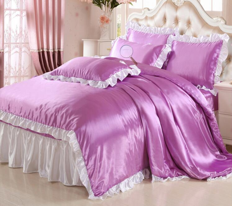 Butterf Pure colour Water-washed Tencel bedding sets comfort bed sheet /duvet cover / pillowcase 4pcs Home textile