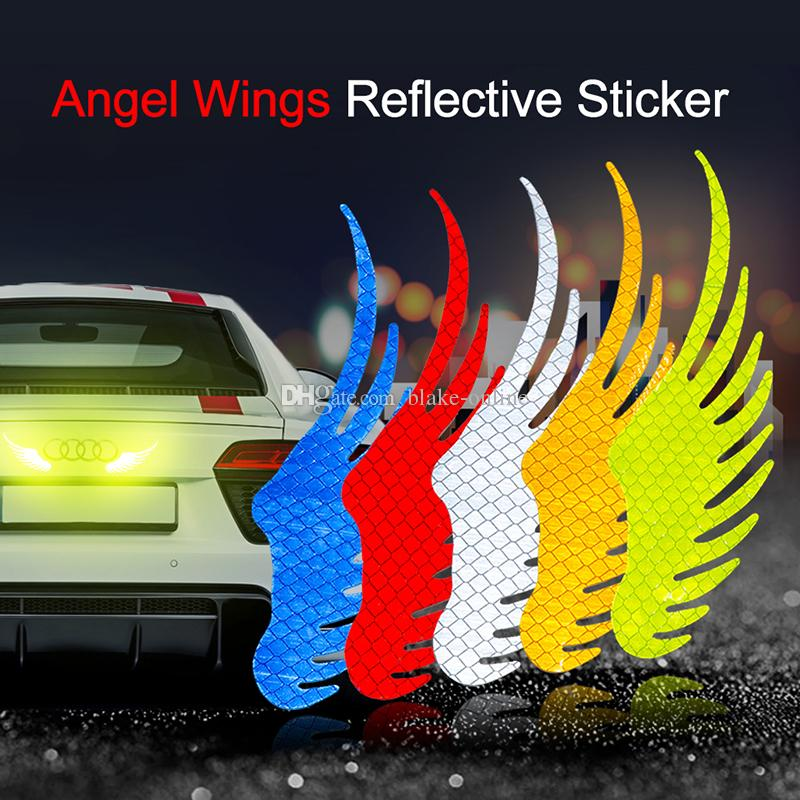 Funny Car Reflective Stickers Anti-collision Warning Mark Tape Waterproof Safety Reflect Strip Strong Light Reflectors Angel Wings