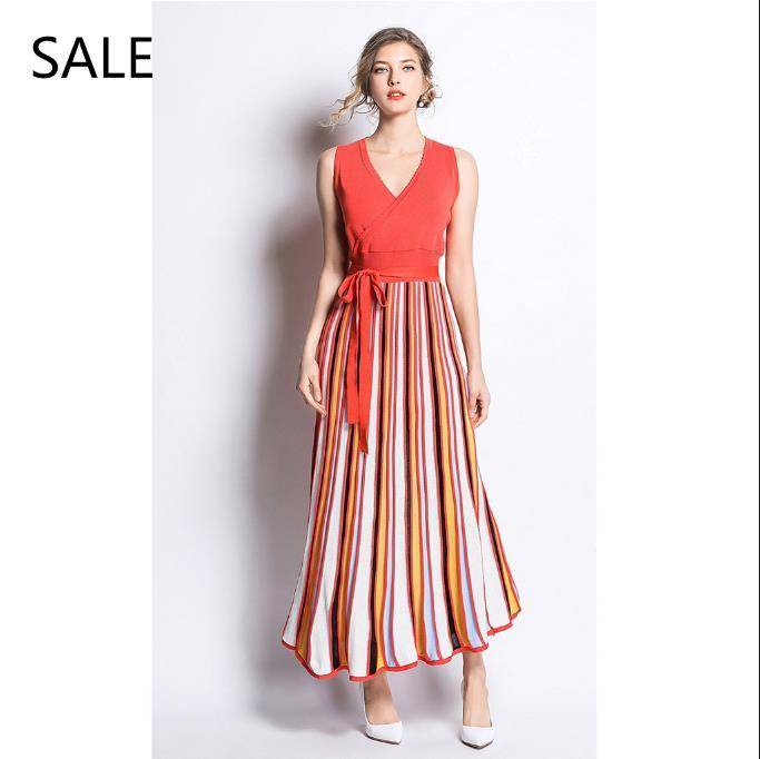 5fd3e9f78615 Women Long Dress Knitted V Neck Sashes Striped Design Ladies Pleated  Dresses Fashion Style Coral Red Spring Leisure Black Dresses Casual Black  And Gold ...