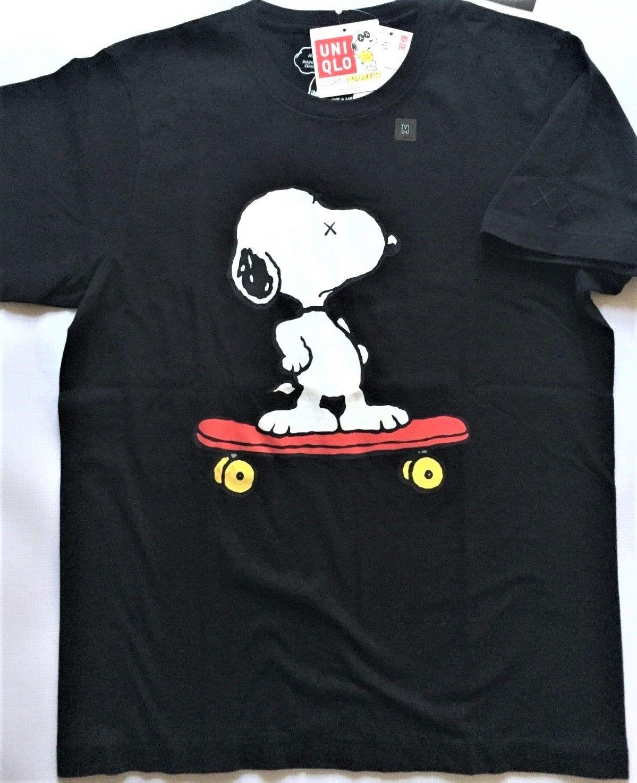 5b086bdca8 KAWS X Peanuts X UNIQLO  Snoopy On Skateboard  Graphic Art T Shirt S Blk    NWT   Men Women Unisex Fashion Tshirt Funny This T Shirt T Shirts Best  From ...